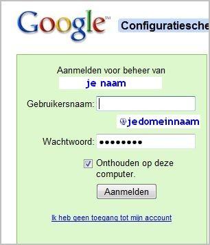 inloggen GoogleApps