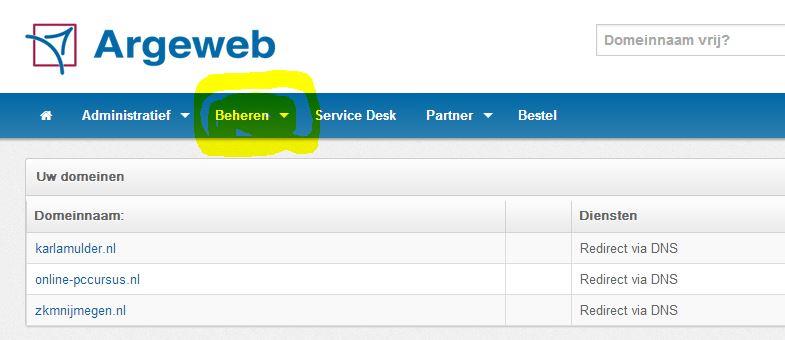 Argeweb_beheren