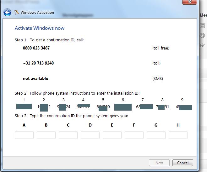 telefonisch bevestigen windows7